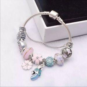 Jewelry - 18cm New Beautiful Blue Bird Pink Charm Bracelet